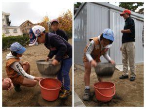 先ずは、どろ団子に使う土を篩いにかけて団子様の土を作ります。